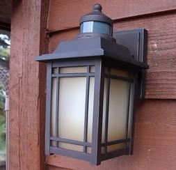 Outdoor Motion Sensor Wall Lantern 1-Light Oil-Rubbed Fixtur