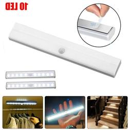 10 LED Motion Sensor Closet Light Wireless Night Cabinet Bat