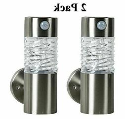 "2 Pack 9"" Solar Power LED Stainless Steel Porch Lights with"