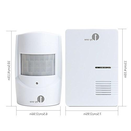 1byone Wireless Home Security Driveway Alarm, Receiver Motion Sensor Detector Alert System Melodies Choose