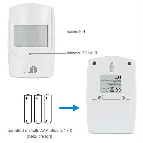 1byone Security Driveway Alarm, Receiver and 1 PIR Motion Detector Alert Melodies