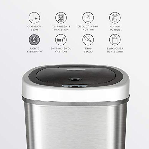Ninestars Touchless Motion Oval Trash Can, Stainless