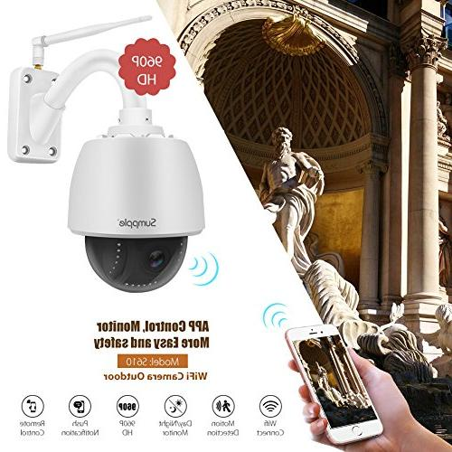 Sumpple Outdoor Security Video IP Camera Optical Zoom Activated Built-in SD Card Vision Work for IOS, Android or PC