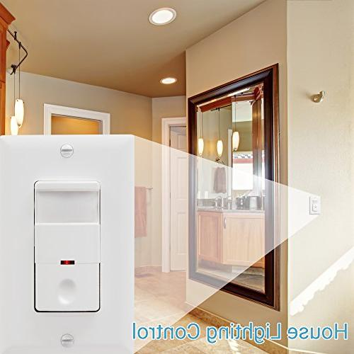 TOPGREENER Switch, In Wall Switch, Occupancy 500W LED CFL Wall Plates 2 Pack