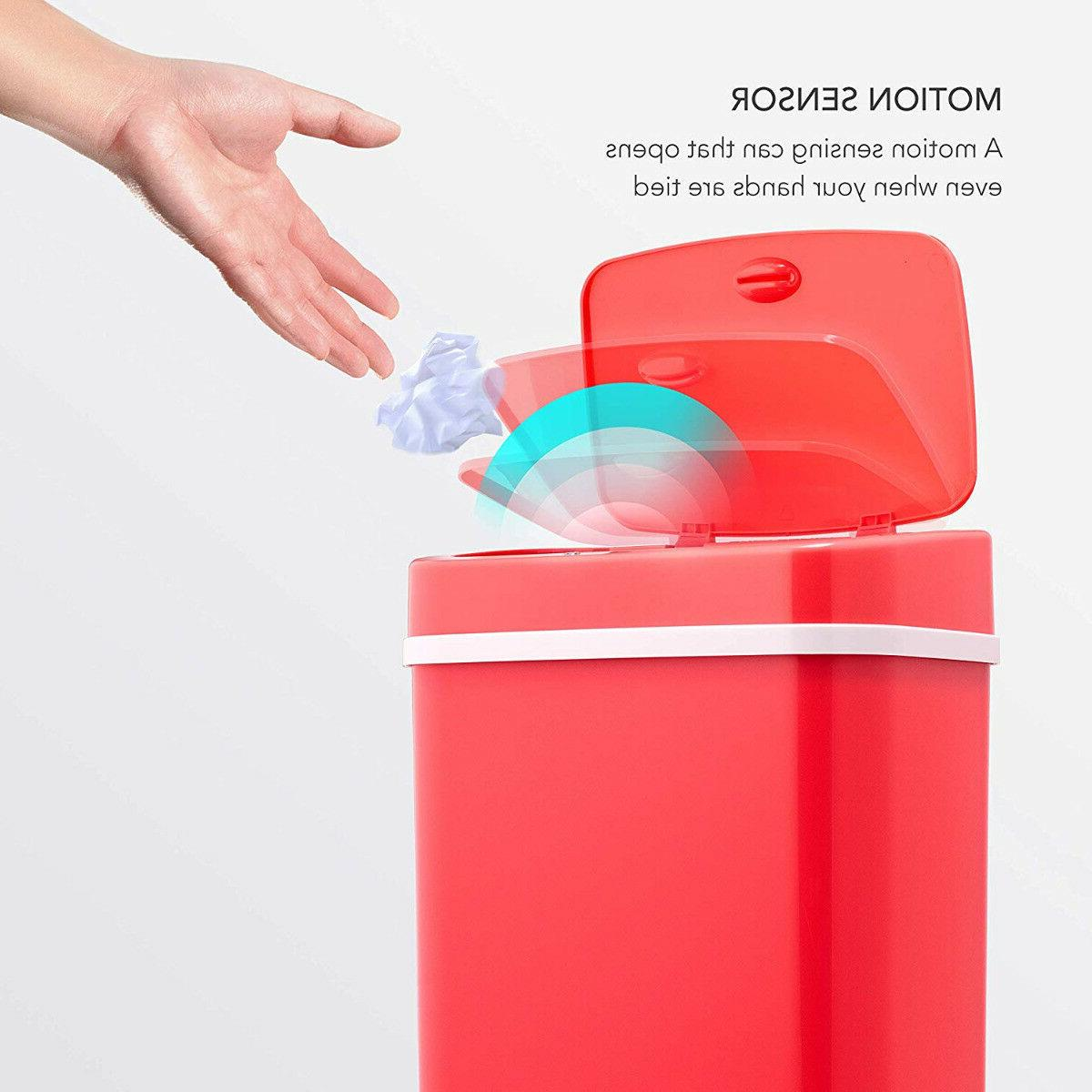 Ninestars Touchless Motion Sensor 12L Red Trash Can