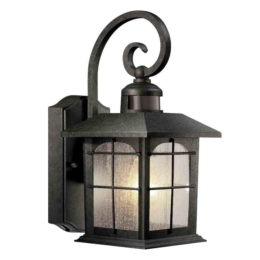 Brimfield 180-Degree 1-Light Outdoor Aged Iron Motion-Sensin