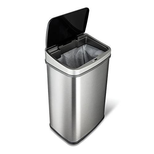 NINESTARS Motion Trash Can, Black Top 13 Gal Brush