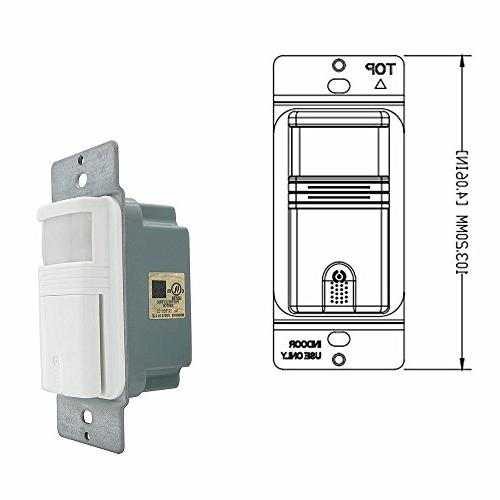 ECOELER Lighting Vacancy & Occupancy Motion Switch, 24 Qualifed, View, Wire White,