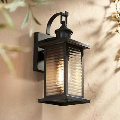 Modern Outdoor Wall Light Fixture Black 13 3 4 Motion Sensor For Porch Entryway
