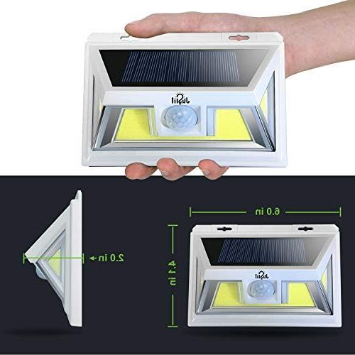 JUSLIT Solar Light with Night Light Diming Mode, Waterproof 270° Angle Detector for Porch Step