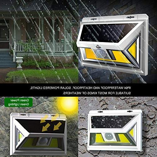 Solar Light, JUSLIT LED Solar Outdoor, Light with Diming Waterproof Wireless 270° Wide Angle Detector light for Porch Step