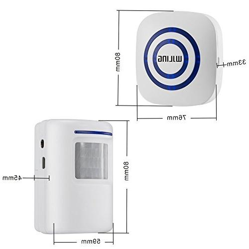 WJLING Sensor Wireless Driveway Security with 2 Receiver Tunes - LED