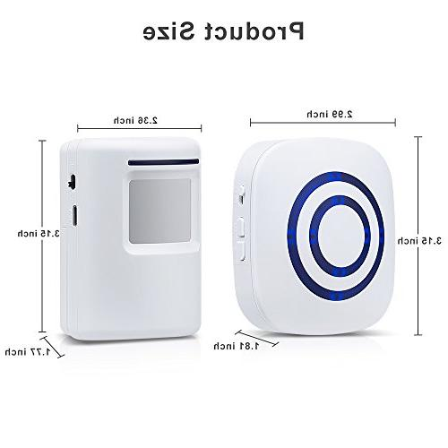 Wireless Doorbell Alarm Alarm with and 2 Sensor 38 Chime Tunes Systems