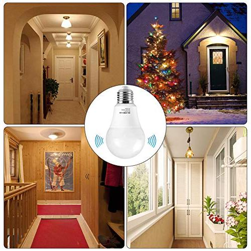 Motion Sensor 7W Smart Bulbs Base, SHINE Soft White Night Lights for Porch Garage Stair,