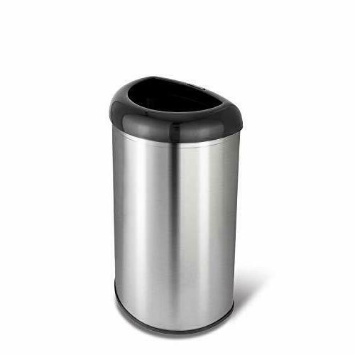 Nine Stars OTT-50-19BK SS Open Top Trash Can 13.2 gallon Bla