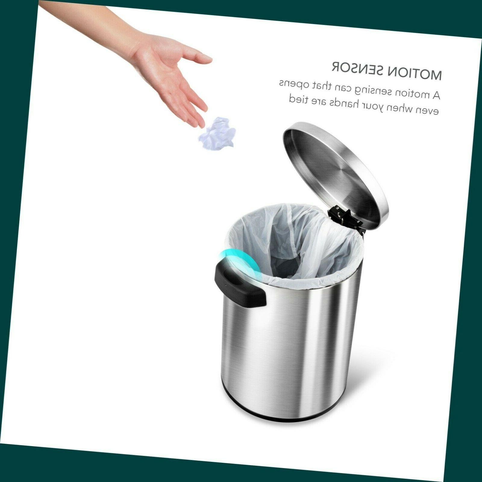 Round Stainless Steel Trash Can 1.3-Gallon Touch-Free Moti