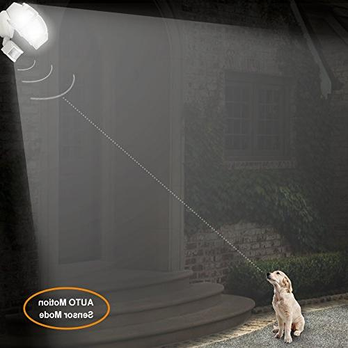LEPOWER Light, Super Outdoor Motion Sensor 6000K, IP65 Waterproof, Adjustable Heads & Certified Motion Light and