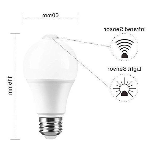12W Motion Light Bulb, On/Off, Dusk Till Dawn A19 LED for Garage Stairs Boxlood