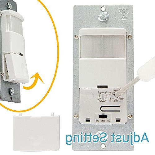 TOPGREENER TDOS5-J-W Sensor Switch, No Neutral Required, PIR Infrared Occupancy Sensor Wall 500W Ground Required, Single Pole, White, 2-Pack