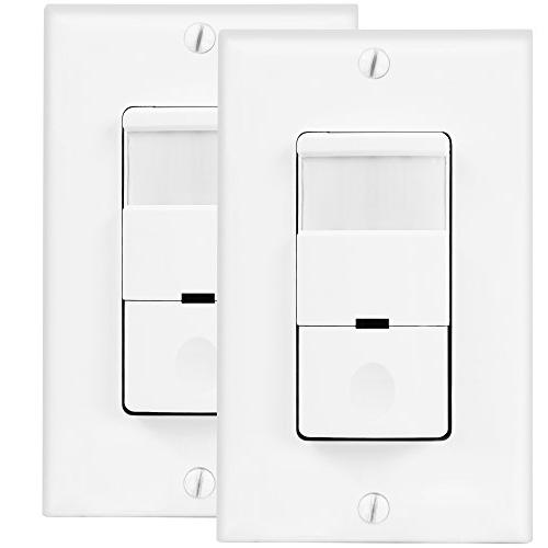 TOPGREENER TDOS5-J-W Motion PIR Passive Occupancy Sensor Wall 500W Ground Required, Single Pole, 2-Pack