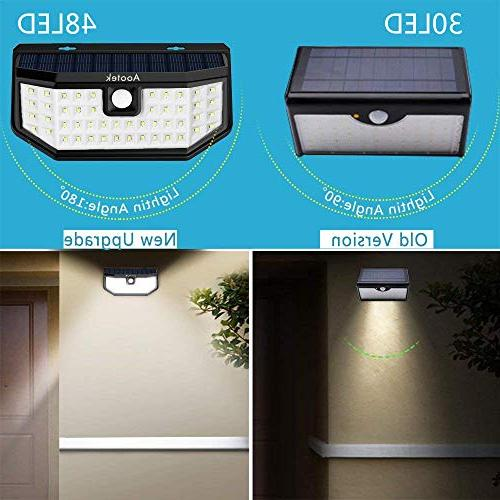 New Upgraded 48 LED Solar Lights with Wide Angle Sensor Waterproof Wall Security Night Light 3 Modes Driveway Garden Step Stair Fence Deck 2pack