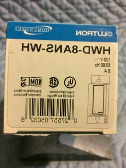 NEW - Lutron HWD-8ANS-WH Homeworks 8 Amp Neutral Switch, Whi