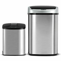 Set of 2 Touch-Free Motion Sensor Bin Trash Can 13 & 2.3 Gal